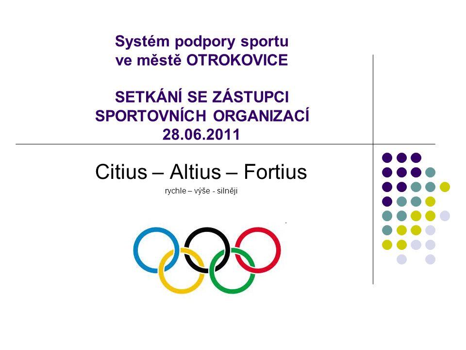 Systém podpory sportu ve městě OTROKOVICE SETKÁNÍ SE ZÁSTUPCI SPORTOVNÍCH ORGANIZACÍ 28.06.2011 Citius – Altius – Fortius rychle – výše - silněji