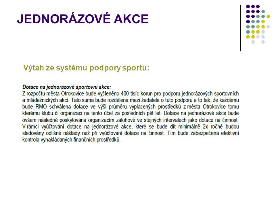 JEDNORÁZOVÉ AKCE Výtah ze systému podpory sportu: