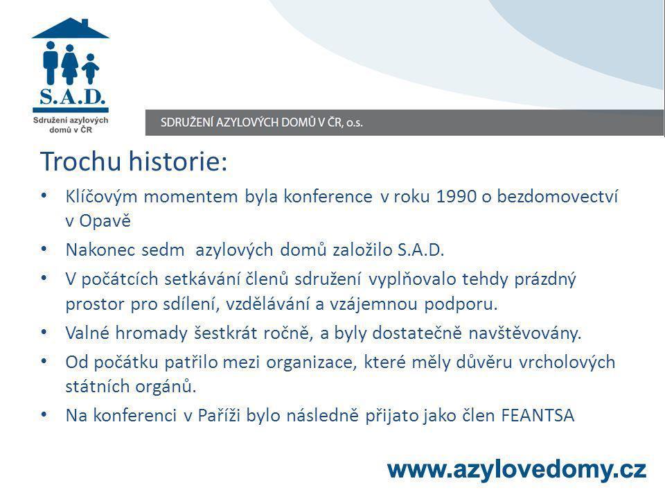 Trochu historie organizace Trochu historie: Klíčovým momentem byla konference v roku 1990 o bezdomovectví v Opavě Nakonec sedm azylových domů založilo S.A.D.