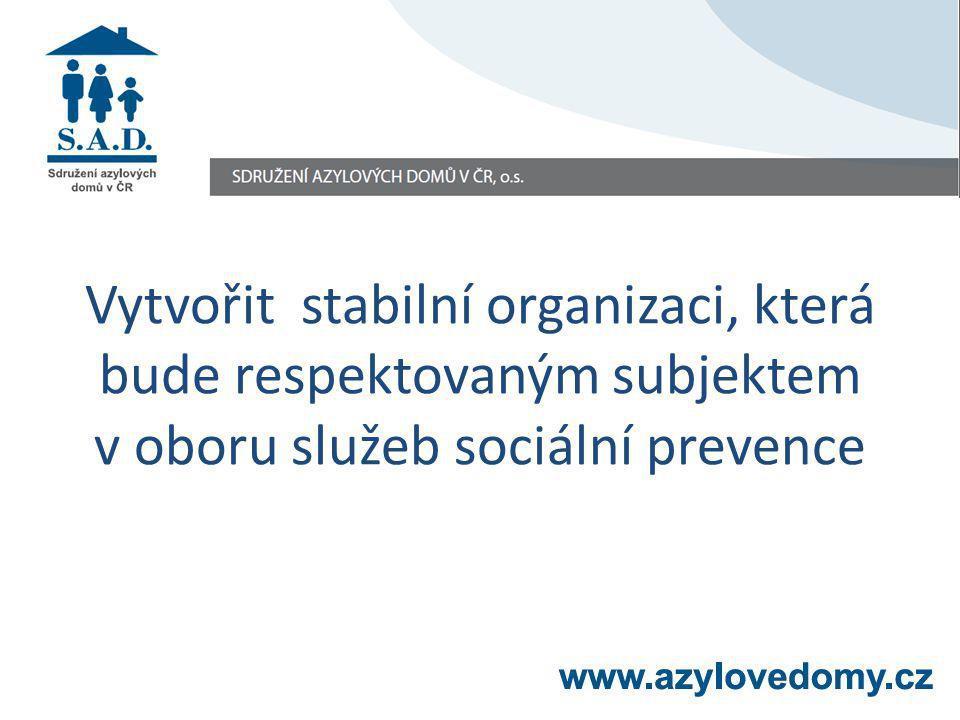 Vytvořit stabilní organizaci, která bude respektovaným subjektem v oboru služeb sociální prevence