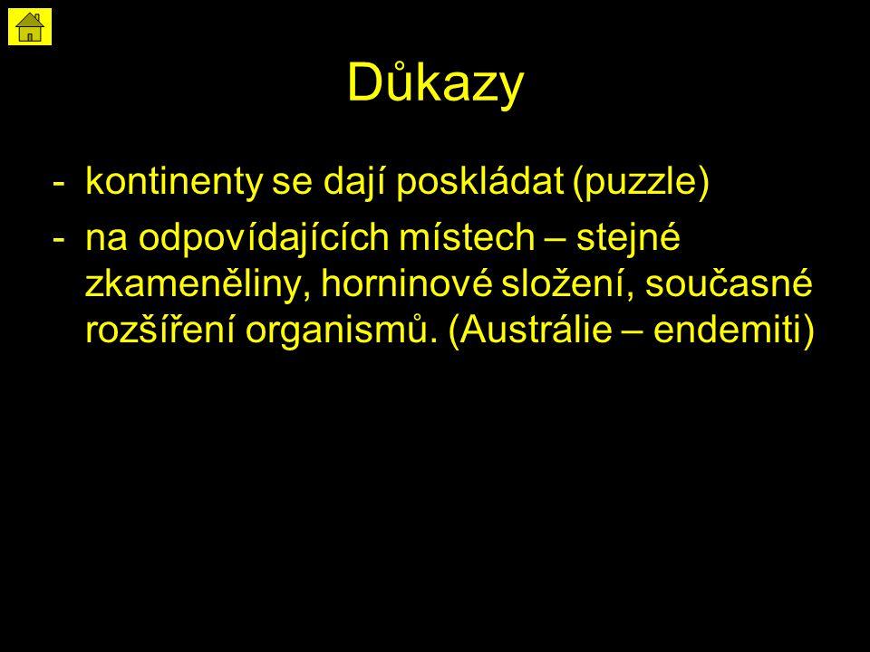Důkazy -kontinenty se dají poskládat (puzzle) -na odpovídajících místech – stejné zkameněliny, horninové složení, současné rozšíření organismů. (Austr