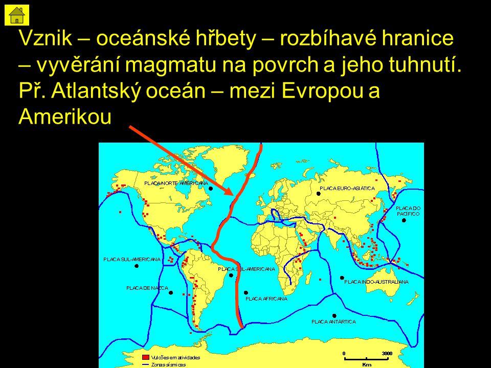 Vznik – oceánské hřbety – rozbíhavé hranice – vyvěrání magmatu na povrch a jeho tuhnutí. Př. Atlantský oceán – mezi Evropou a Amerikou
