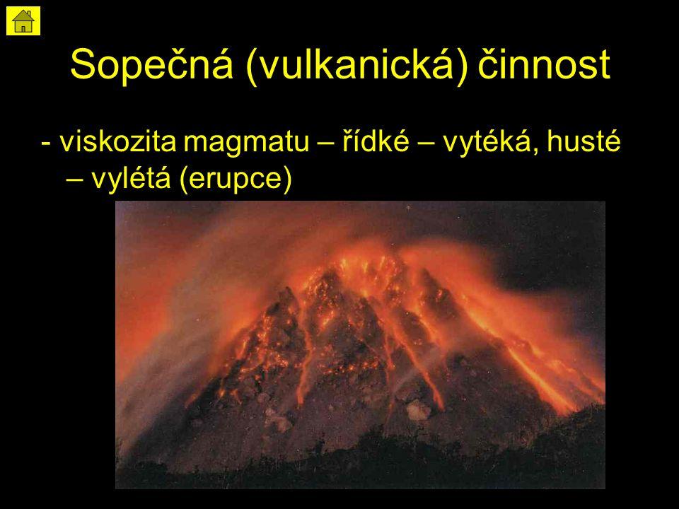 Sopečná (vulkanická) činnost - viskozita magmatu – řídké – vytéká, husté – vylétá (erupce)