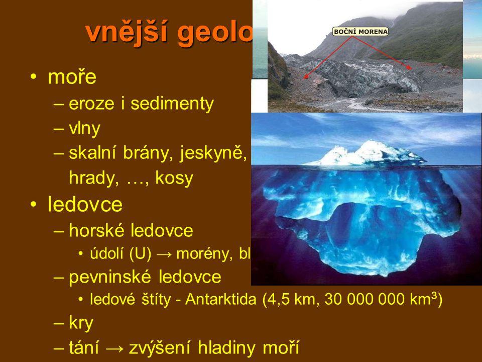 vnější geologické děje moře –eroze i sedimenty –vlny –skalní brány, jeskyně, hrady, …, kosy ledovce –horské ledovce údolí (U) → morény, bludné balvany, jezera –pevninské ledovce ledové štíty - Antarktida (4,5 km, 30 000 000 km 3 ) –kry –tání → zvýšení hladiny moří