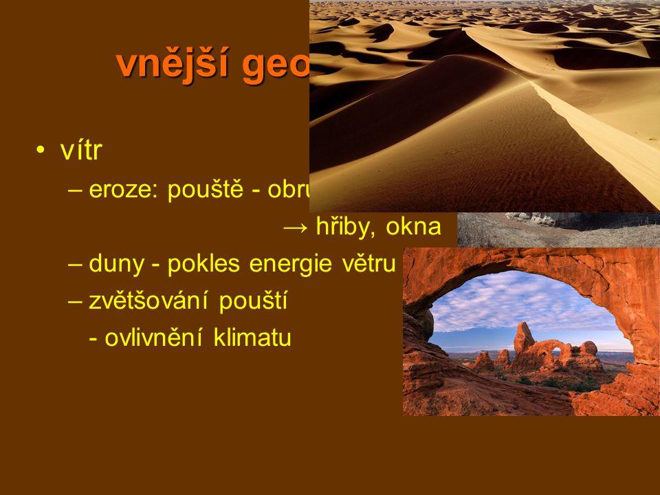 vnější geologické děje vítr –eroze: pouště - obrušování skal → hřiby, okna –duny - pokles energie větru –zvětšování pouští - ovlivnění klimatu