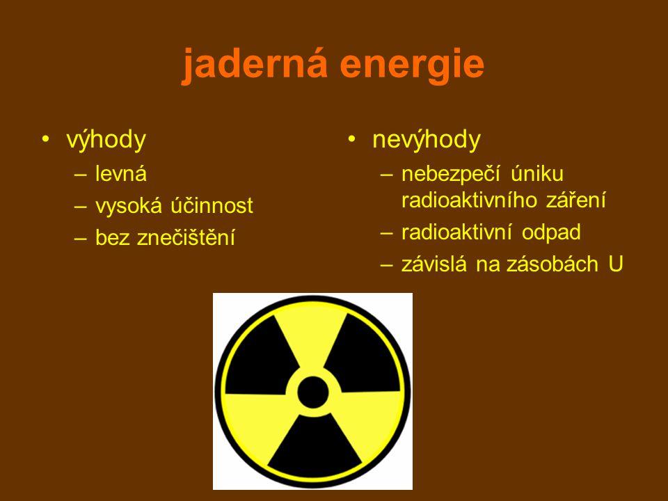 jaderná energie výhody –levná –vysoká účinnost –bez znečištění nevýhody –nebezpečí úniku radioaktivního záření –radioaktivní odpad –závislá na zásobách U