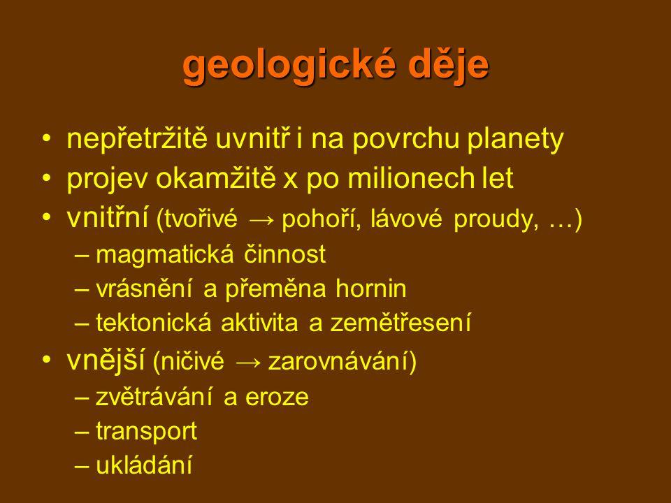 geologické děje nepřetržitě uvnitř i na povrchu planety projev okamžitě x po milionech let vnitřní (tvořivé → pohoří, lávové proudy, …) –magmatická činnost –vrásnění a přeměna hornin –tektonická aktivita a zemětřesení vnější (ničivé → zarovnávání) –zvětrávání a eroze –transport –ukládání