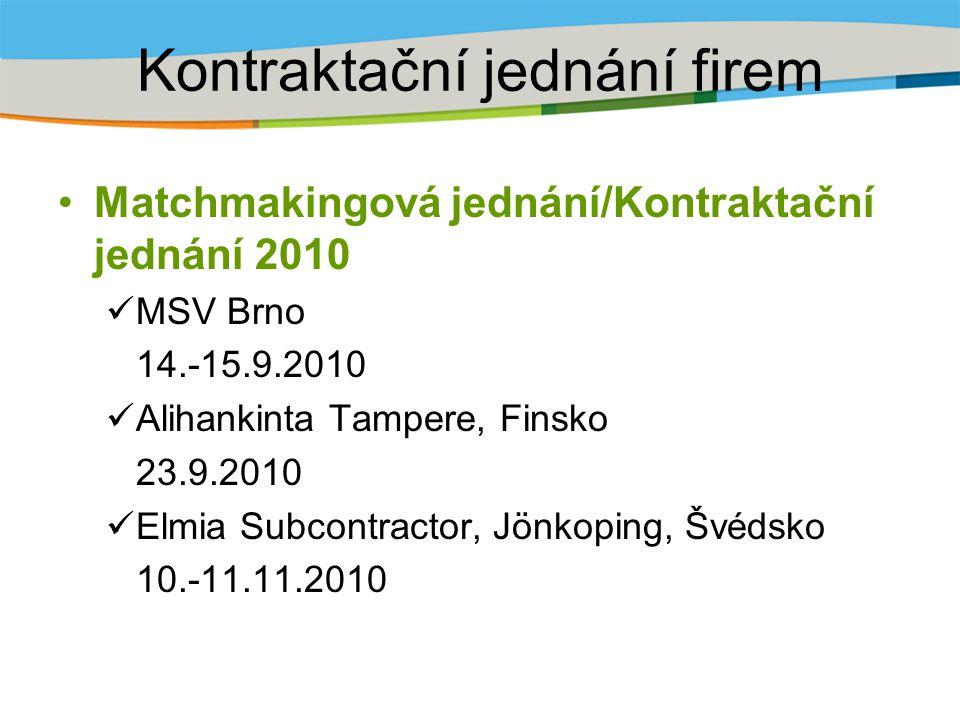 Kontraktační jednání firem Matchmakingová jednání/Kontraktační jednání 2010 MSV Brno 14.-15.9.2010 Alihankinta Tampere, Finsko 23.9.2010 Elmia Subcontractor, Jönkoping, Švédsko 10.-11.11.2010