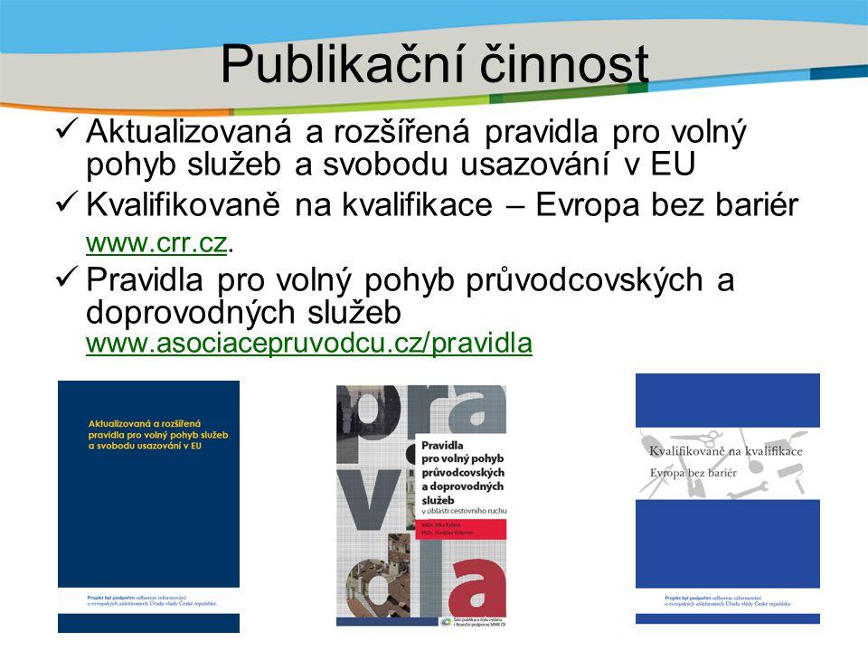 Publikační činnost Aktualizovaná a rozšířená pravidla pro volný pohyb služeb a svobodu usazování v EU Kvalifikovaně na kvalifikace – Evropa bez bariér www.crr.czwww.crr.cz.