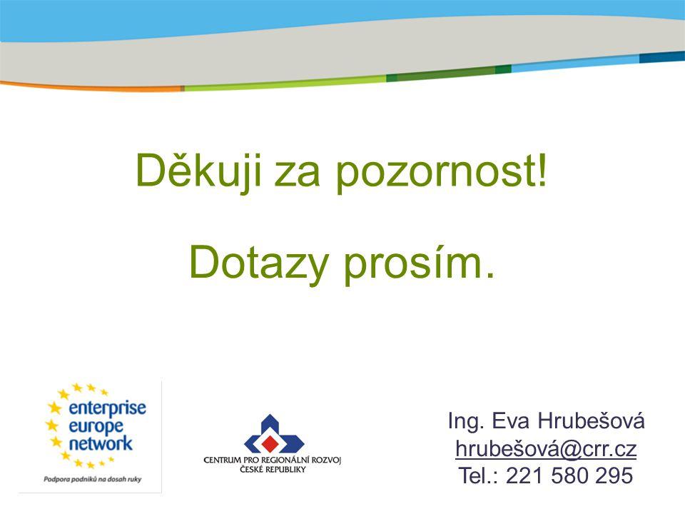 Děkuji za pozornost! Ing. Eva Hrubešová hrubešová@crr.cz Tel.: 221 580 295 Dotazy prosím.