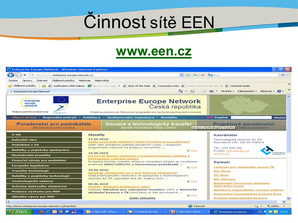 Činnost sítě EEN www.een.cz