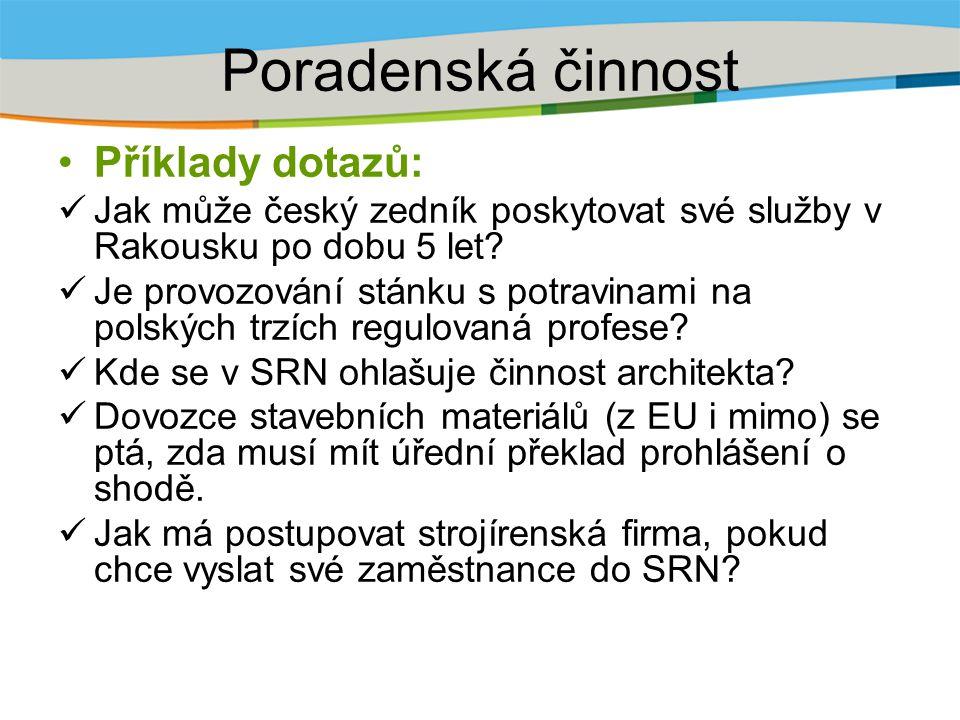 Poradenská činnost Příklady dotazů: Jak může český zedník poskytovat své služby v Rakousku po dobu 5 let? Je provozování stánku s potravinami na polsk