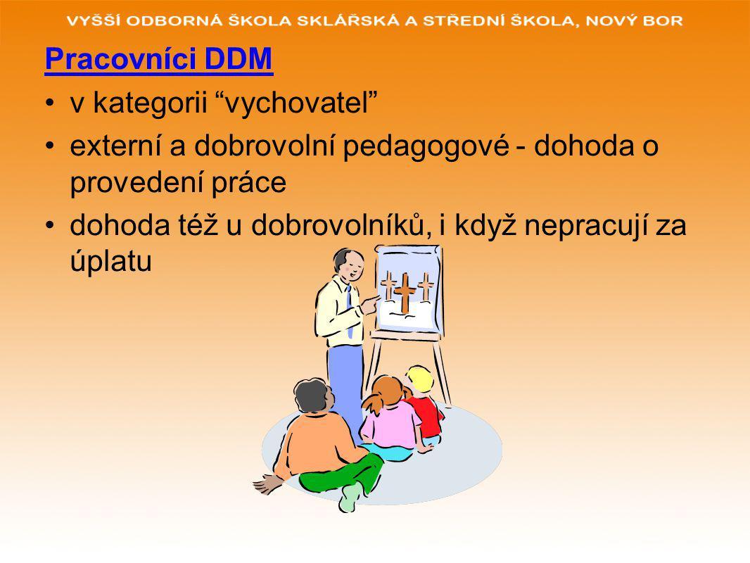 Pracovníci DDM v kategorii vychovatel externí a dobrovolní pedagogové - dohoda o provedení práce dohoda též u dobrovolníků, i když nepracují za úplatu