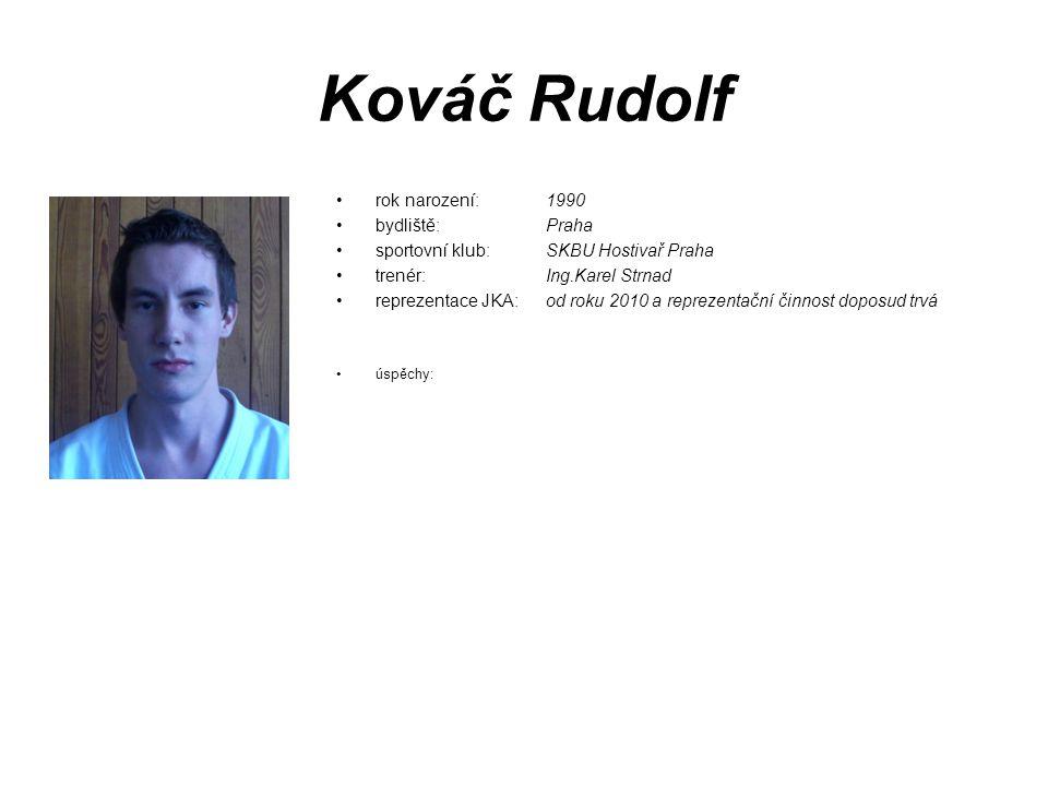 Kováč Rudolf rok narození: 1990 bydliště: Praha sportovní klub: SKBU Hostivař Praha trenér: Ing.Karel Strnad reprezentace JKA: od roku 2010 a reprezen