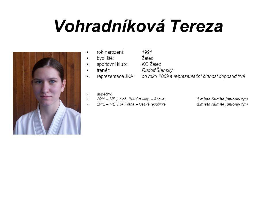 Vohradníková Tereza rok narození: 1991 bydliště: Žatec sportovní klub: KC Žatec trenér: Rudolf Šianský reprezentace JKA:od roku 2009 a reprezentační č