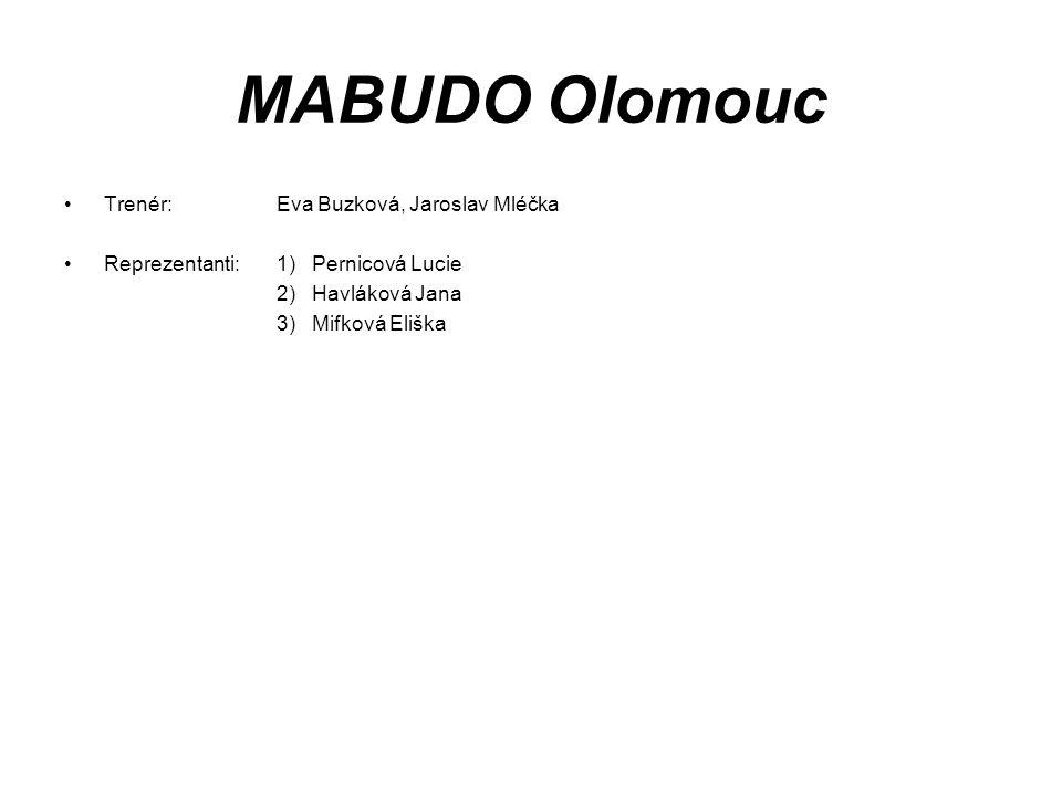 MABUDO Olomouc Trenér: Eva Buzková, Jaroslav Mléčka Reprezentanti:1) Pernicová Lucie 2) Havláková Jana 3) Mifková Eliška