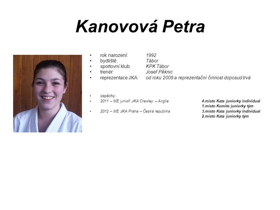 Kanovová Petra rok narození: 1992 bydliště: Tábor sportovní klub: KPK Tábor trenér: Josef Pěknic reprezentace JKA: od roku 2009 a reprezentační činnos