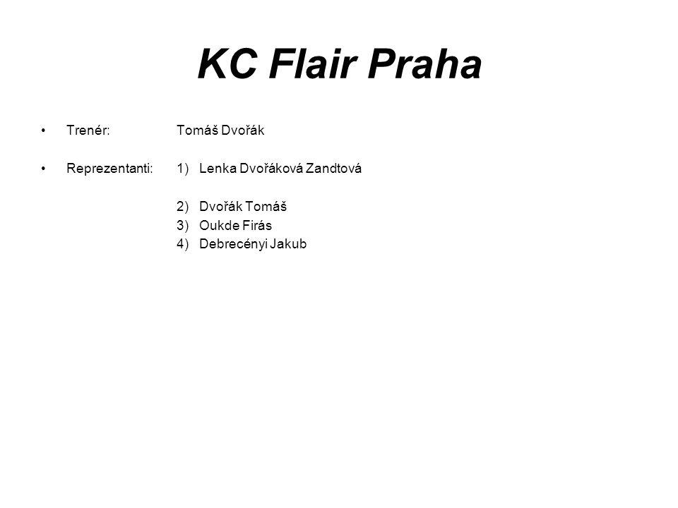 KC Flair Praha Trenér: Tomáš Dvořák Reprezentanti:1) Lenka Dvořáková Zandtová 2) Dvořák Tomáš 3) Oukde Firás 4) Debrecényi Jakub