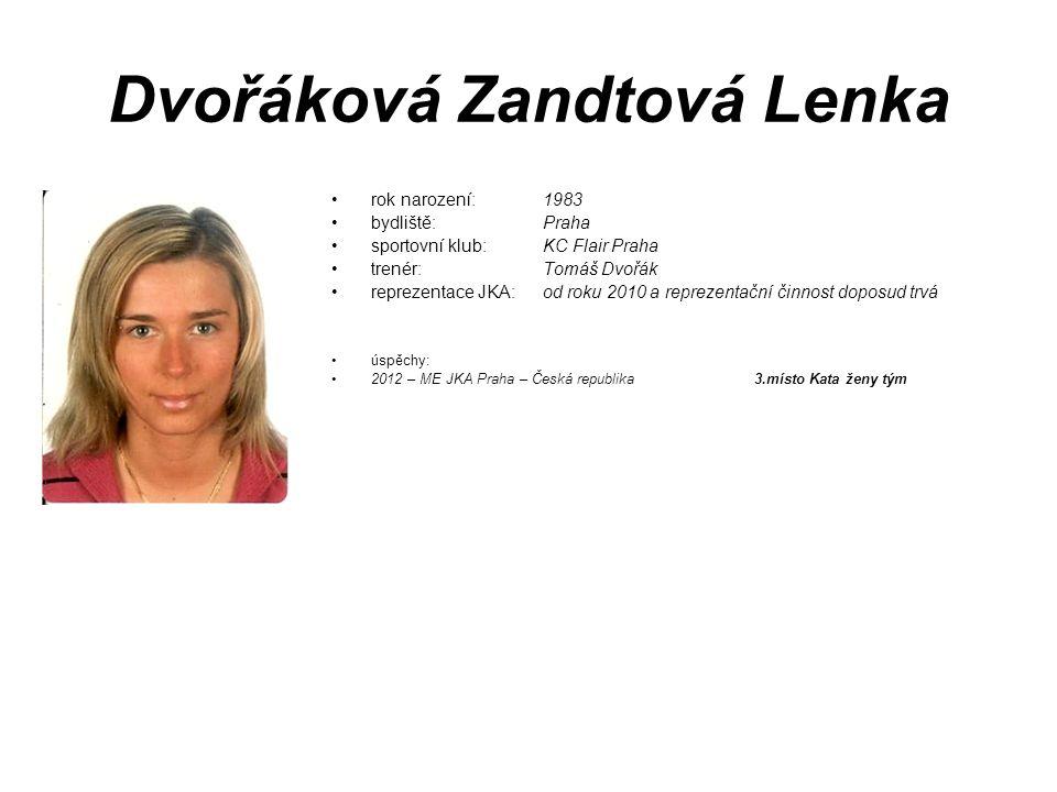 Dvořáková Zandtová Lenka rok narození: 1983 bydliště: Praha sportovní klub: KC Flair Praha trenér: Tomáš Dvořák reprezentace JKA: od roku 2010 a repre