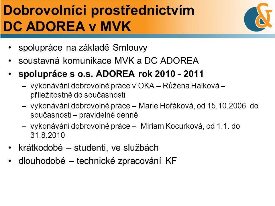 Dobrovolníci prostřednictvím DC ADOREA v MVK spolupráce na základě Smlouvy soustavná komunikace MVK a DC ADOREA spolupráce s o.s.