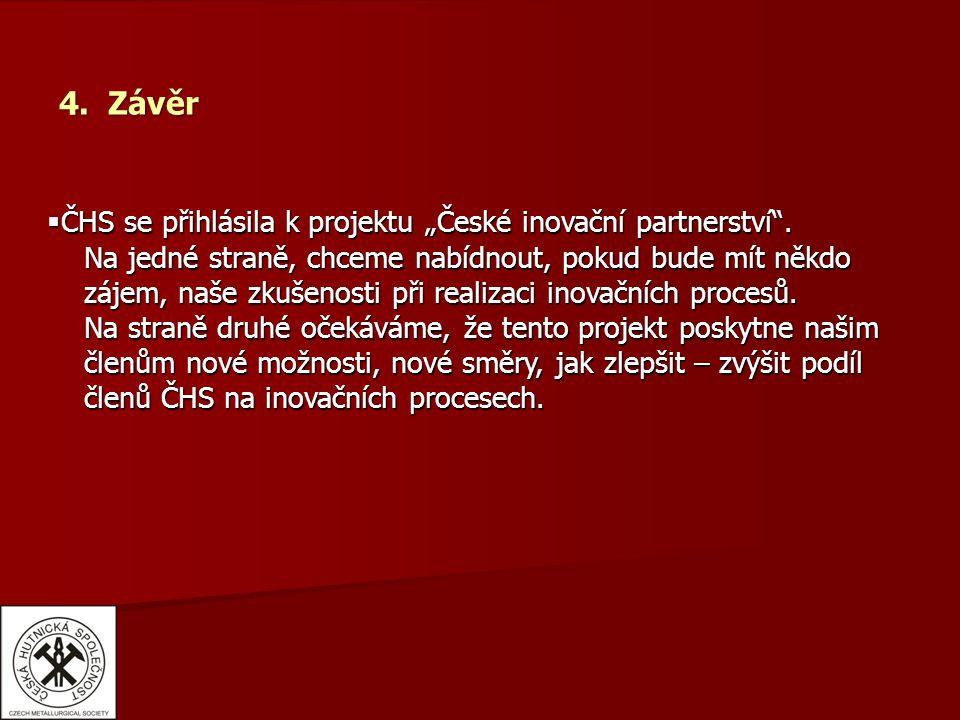 """4. Závěr  ČHS se přihlásila k projektu """"České inovační partnerství ."""