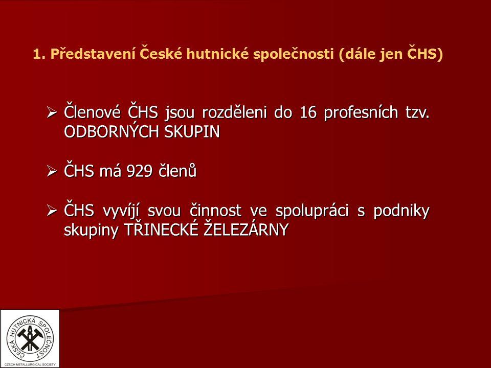 1. Představení České hutnické společnosti (dále jen ČHS)  Členové ČHS jsou rozděleni do 16 profesních tzv. ODBORNÝCH SKUPIN  ČHS má 929 členů  ČHS