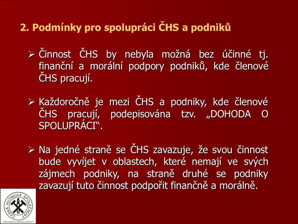 2. Podmínky pro spolupráci ČHS a podniků  Činnost ČHS by nebyla možná bez účinné tj.