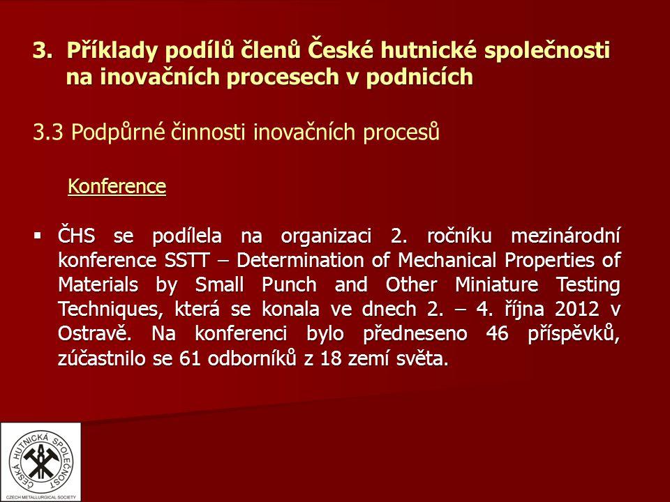 3. Příklady podílů členů České hutnické společnosti na inovačních procesech v podnicích 3.3 Podpůrné činnosti inovačních procesů Konference Konference