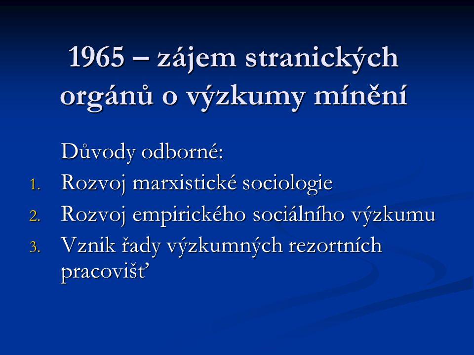 1965 – zájem stranických orgánů o výzkumy mínění Důvody odborné: 1. Rozvoj marxistické sociologie 2. Rozvoj empirického sociálního výzkumu 3. Vznik řa
