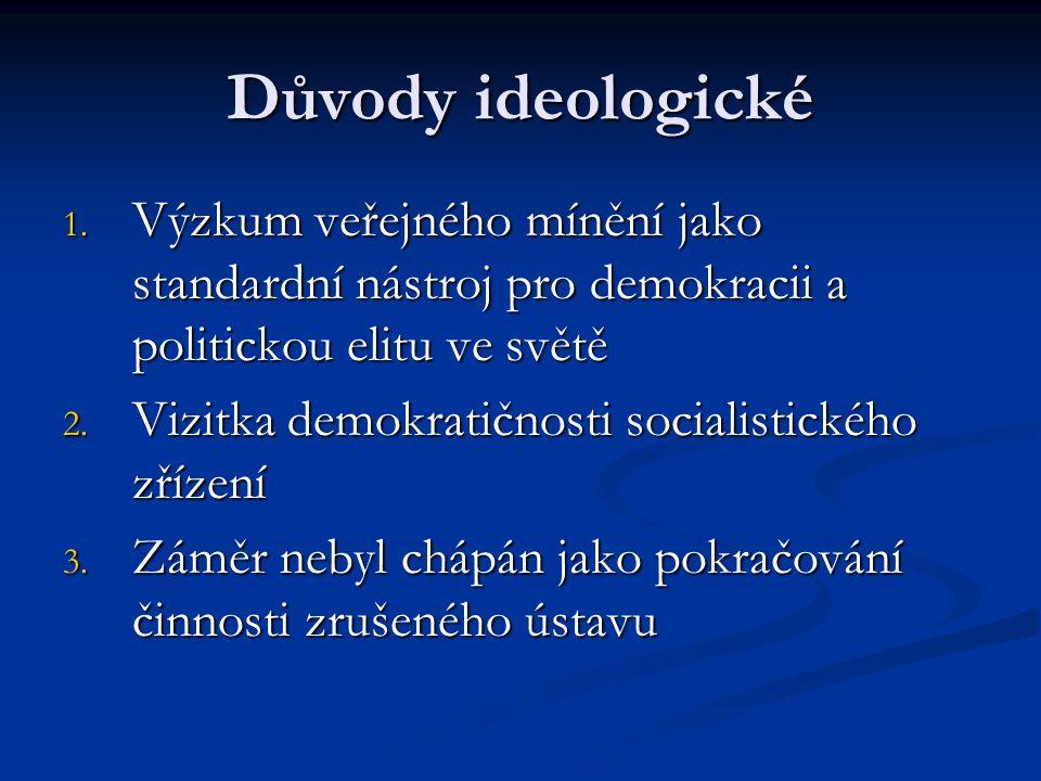 Důvody ideologické 1. Výzkum veřejného mínění jako standardní nástroj pro demokracii a politickou elitu ve světě 2. Vizitka demokratičnosti socialisti