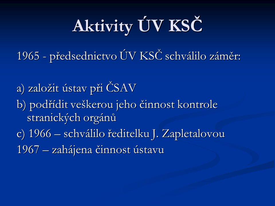Aktivity ÚV KSČ 1965 - předsednictvo ÚV KSČ schválilo záměr: a) založit ústav při ČSAV b) podřídit veškerou jeho činnost kontrole stranických orgánů c