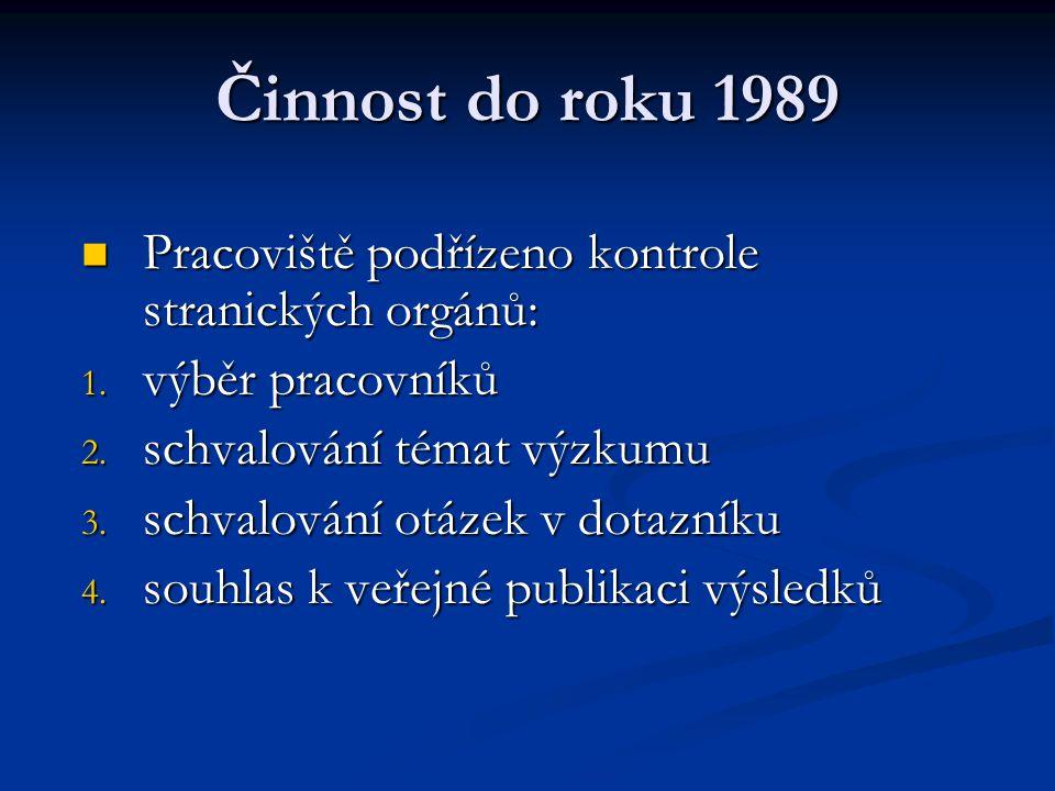 Činnost do roku 1989 Pracoviště podřízeno kontrole stranických orgánů: Pracoviště podřízeno kontrole stranických orgánů: 1. výběr pracovníků 2. schval