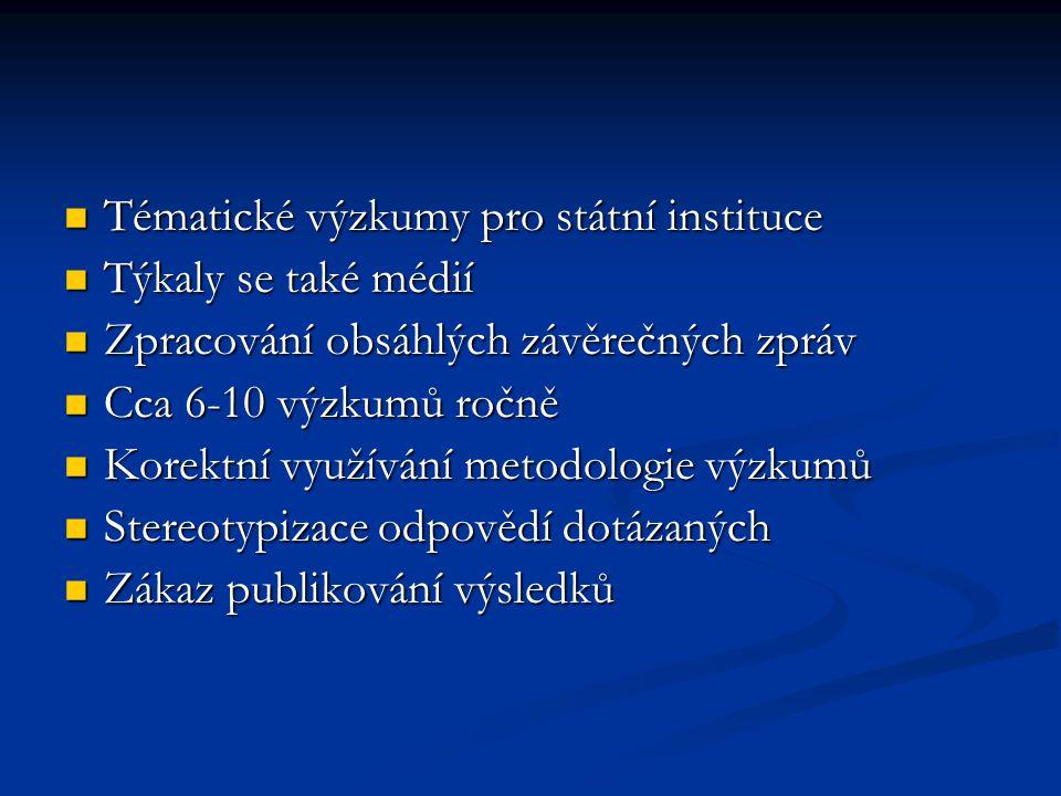 Tématické výzkumy pro státní instituce Tématické výzkumy pro státní instituce Týkaly se také médií Týkaly se také médií Zpracování obsáhlých závěrečný