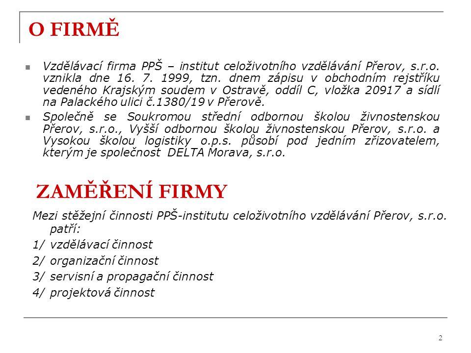 2 O FIRMĚ Vzdělávací firma PPŠ – institut celoživotního vzdělávání Přerov, s.r.o.