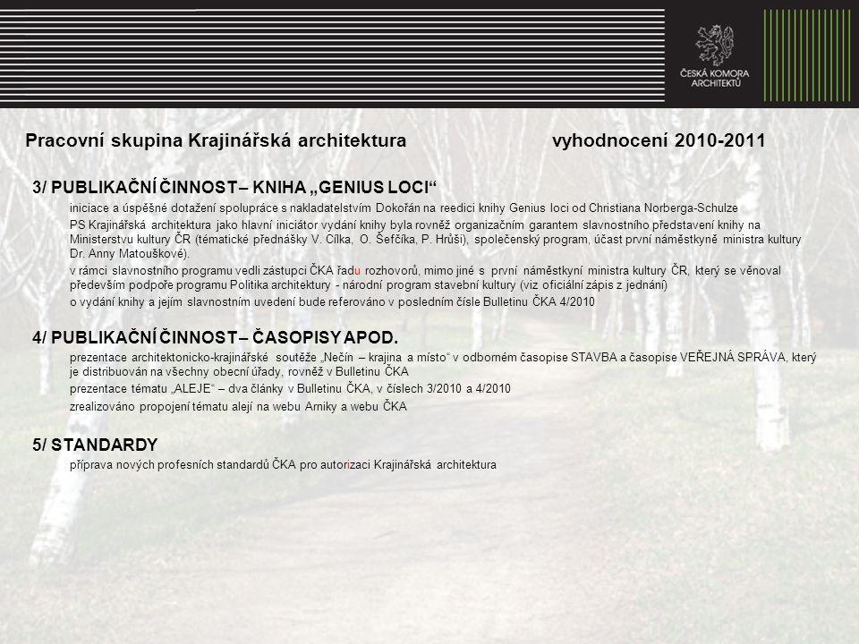 """Pracovní skupina Krajinářská architektura vyhodnocení 2010-2011 3/ PUBLIKAČNÍ ČINNOST – KNIHA """"GENIUS LOCI"""" iniciace a úspěšné dotažení spolupráce s n"""