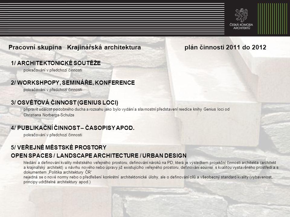 Pracovní skupina Krajinářská architektura plán činnosti 2011 do 2012 1/ ARCHITEKTONICKÉ SOUTĚŽE pokračování v předchozí činnosti 2/ WORKSHPOPY, SEMINÁŘE, KONFERENCE pokračování v předchozí činnosti 3/ OSVĚTOVÁ ČINNOST (GENIUS LOCI) připravit událost podobného ducha a rozsahu jako bylo vydání a slavnostní představení reedice knihy Genius loci od Christiana Norberga-Schulze 4/ PUBLIKAČNÍ ČINNOST – ČASOPISY APOD.