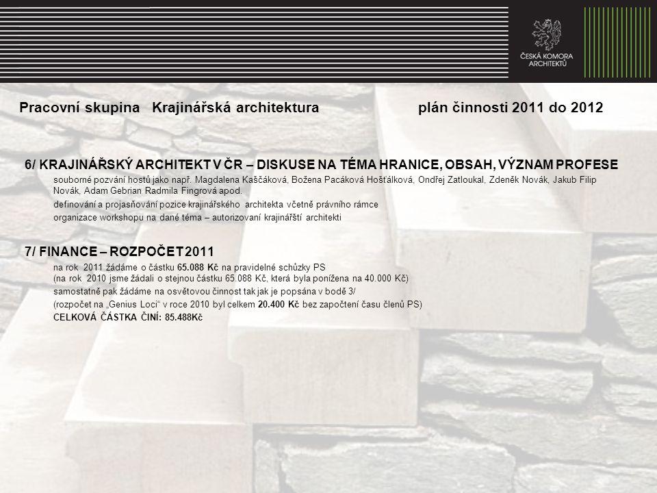 Pracovní skupina Krajinářská architektura plán činnosti 2011 do 2012 6/ KRAJINÁŘSKÝ ARCHITEKT V ČR – DISKUSE NA TÉMA HRANICE, OBSAH, VÝZNAM PROFESE souborné pozvání hostů jako např.