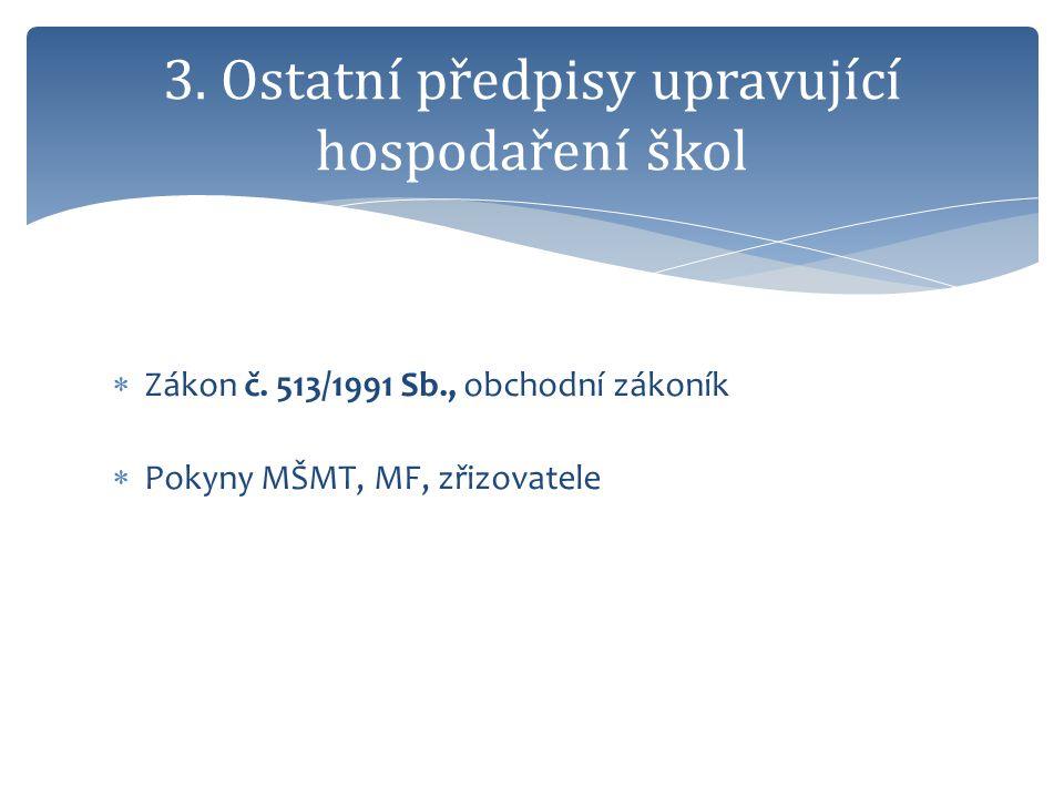  Zákon č. 513/1991 Sb., obchodní zákoník  Pokyny MŠMT, MF, zřizovatele 3. Ostatní předpisy upravující hospodaření škol