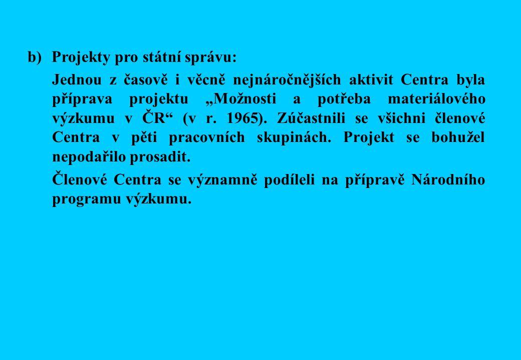 """Jednou z časově i věcně nejnáročnějších aktivit Centra byla příprava projektu """"Možnosti a potřeba materiálového výzkumu v ČR (v r."""
