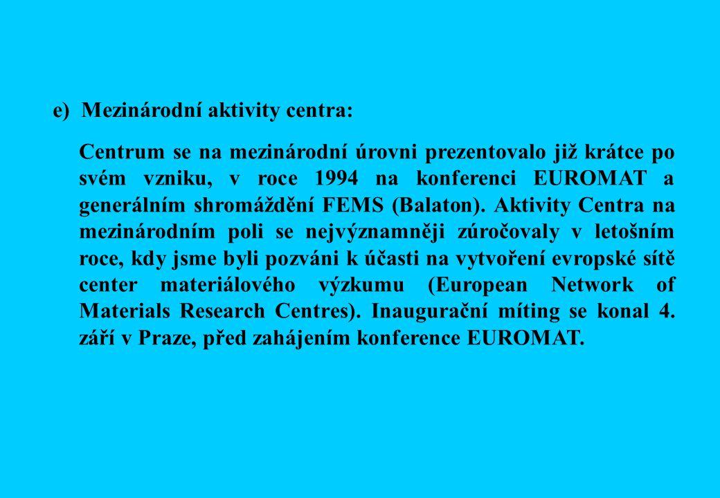 Centrum se na mezinárodní úrovni prezentovalo již krátce po svém vzniku, v roce 1994 na konferenci EUROMAT a generálním shromáždění FEMS (Balaton).