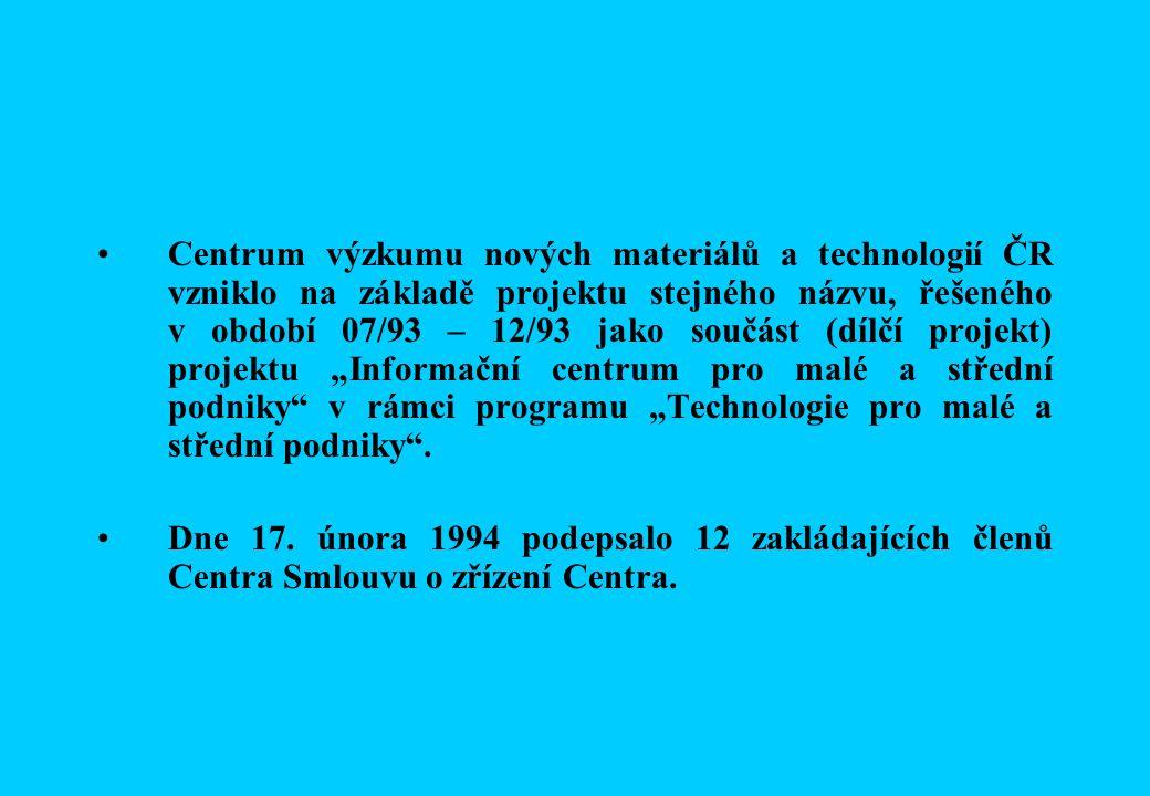 """Centrum výzkumu nových materiálů a technologií ČR vzniklo na základě projektu stejného názvu, řešeného v období 07/93 – 12/93 jako součást (dílčí projekt) projektu """"Informační centrum pro malé a střední podniky v rámci programu """"Technologie pro malé a střední podniky ."""