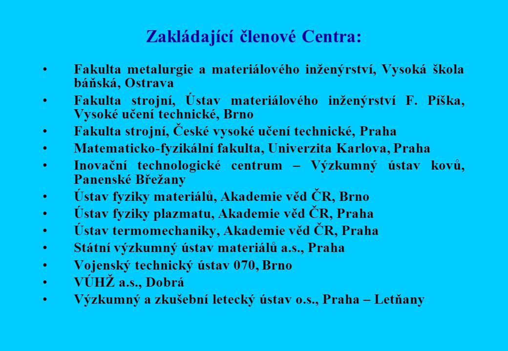 Zakládající členové Centra: Fakulta metalurgie a materiálového inženýrství, Vysoká škola báňská, Ostrava Fakulta strojní, Ústav materiálového inženýrství F.