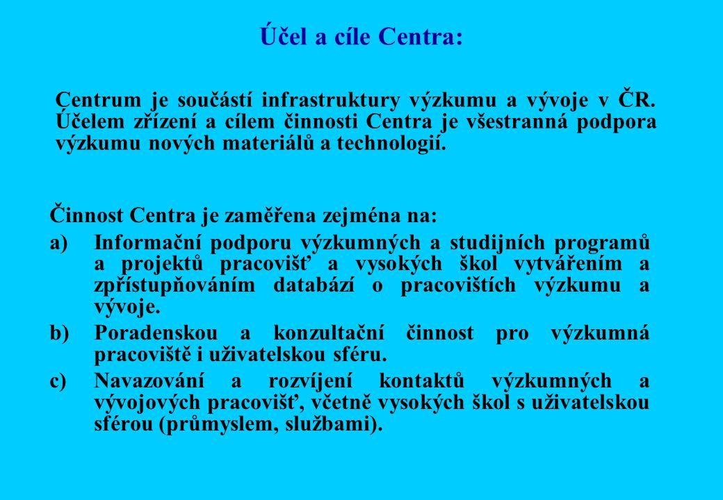 Účel a cíle Centra: Činnost Centra je zaměřena zejména na: a)Informační podporu výzkumných a studijních programů a projektů pracovišť a vysokých škol vytvářením a zpřístupňováním databází o pracovištích výzkumu a vývoje.