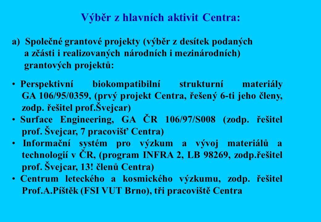 Výběr z hlavních aktivit Centra: a) Společné grantové projekty (výběr z desítek podaných a zčásti i realizovaných národních i mezinárodních) grantových projektů: Perspektivní biokompatibilní strukturní materiály GA 106/95/0359, (prvý projekt Centra, řešený 6-ti jeho členy, zodp.