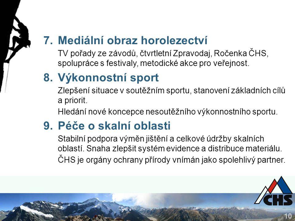 10 7.Mediální obraz horolezectví TV pořady ze závodů, čtvrtletní Zpravodaj, Ročenka ČHS, spolupráce s festivaly, metodické akce pro veřejnost.