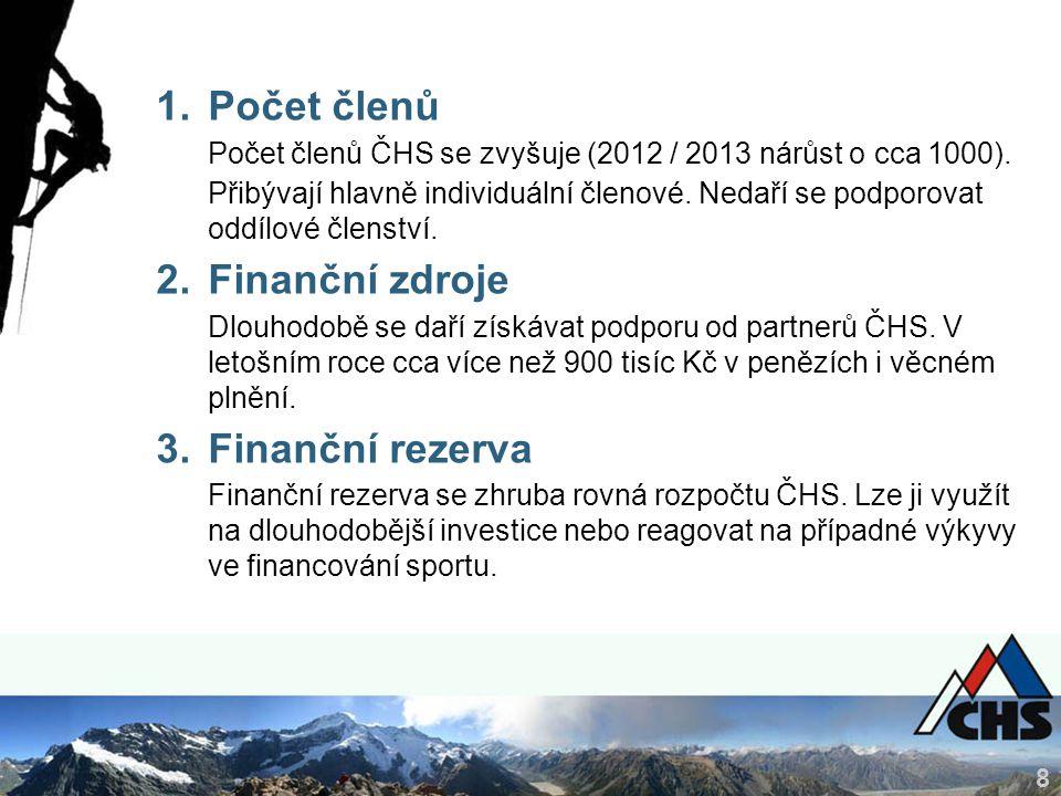 8 1.Počet členů Počet členů ČHS se zvyšuje (2012 / 2013 nárůst o cca 1000).