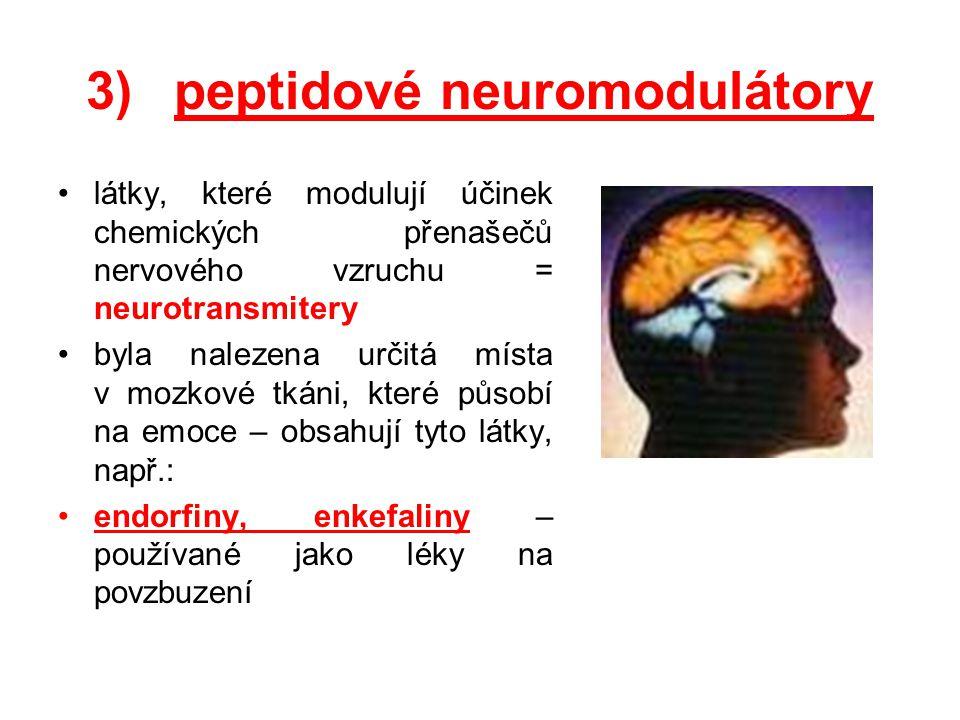 3)peptidové neuromodulátory látky, které modulují účinek chemických přenašečů nervového vzruchu = neurotransmitery byla nalezena určitá místa v mozkov
