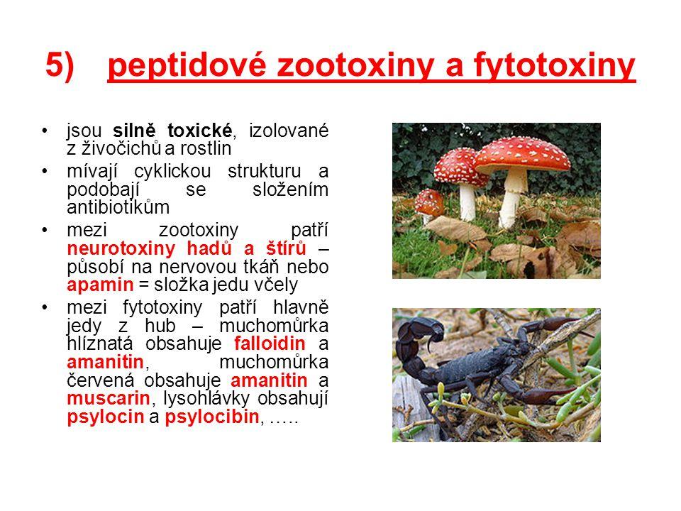 5)peptidové zootoxiny a fytotoxiny jsou silně toxické, izolované z živočichů a rostlin mívají cyklickou strukturu a podobají se složením antibiotikům