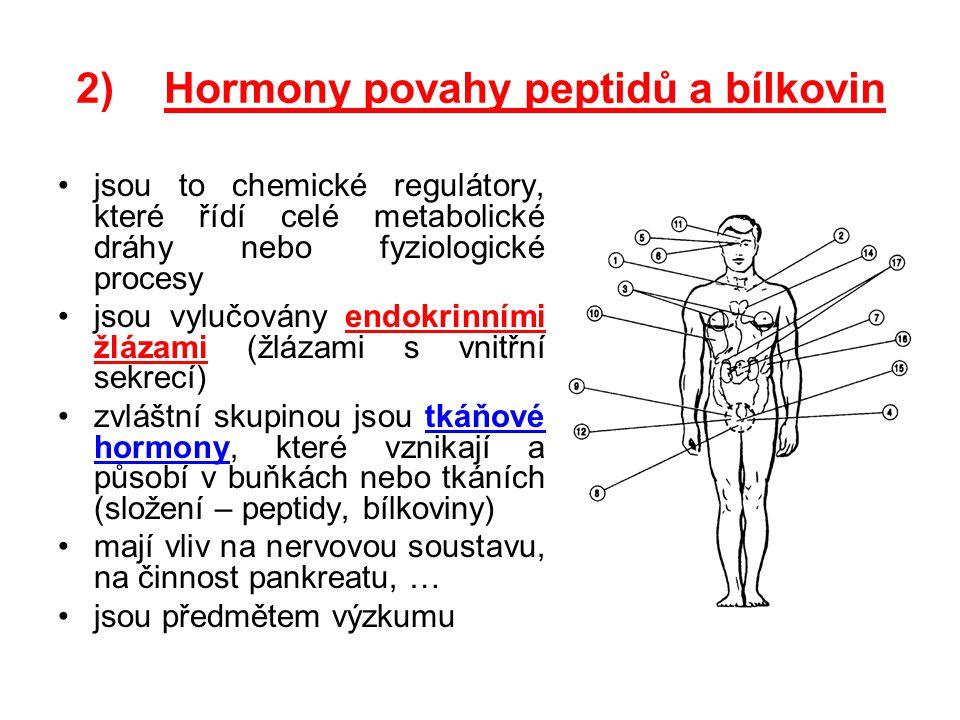 2)Hormony povahy peptidů a bílkovin jsou to chemické regulátory, které řídí celé metabolické dráhy nebo fyziologické procesy jsou vylučovány endokrinn