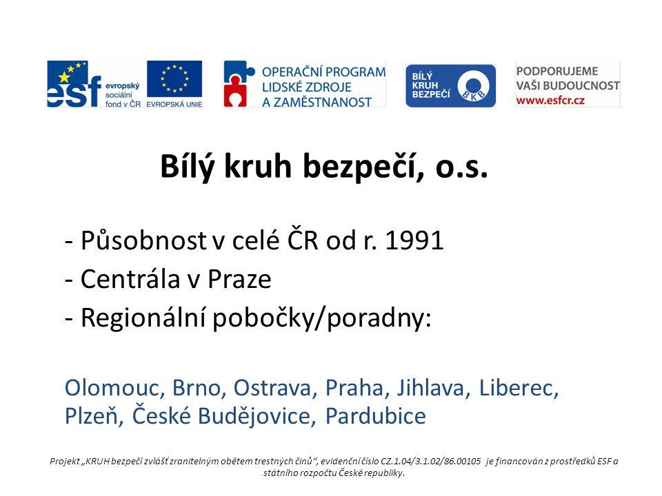 """-Poradenství obětem (odborné, bezplatné) -Prevence kriminality, osvěta -Podněty ke změně legislativy ve prospěch obětí -Člen Evropského fóra služeb obětem Projekt """"KRUH bezpečí zvlášť zranitelným obětem trestných činů , evidenční číslo CZ.1.04/3.1.02/86.00105 je financován z prostředků ESF a státního rozpočtu České republiky."""